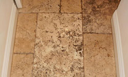Travertine tile before cleaning