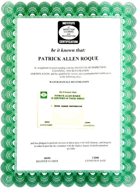 Certified Water Damage Control Technician